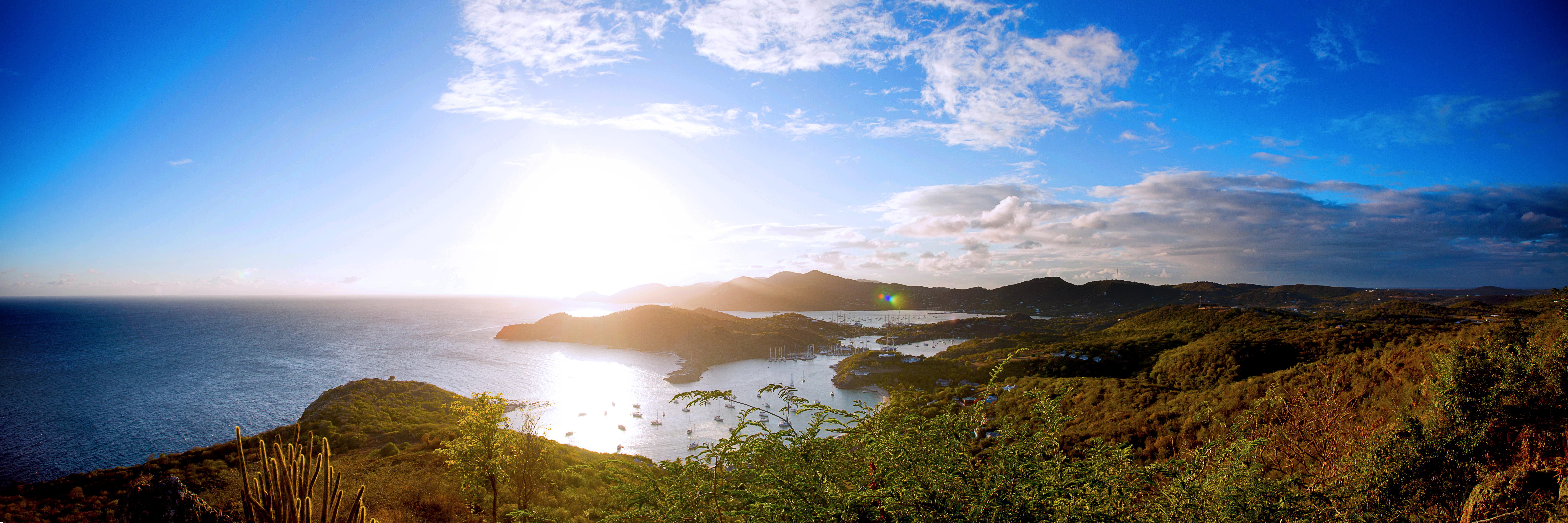 landscape panorama of Shirley Heights, Antigua.