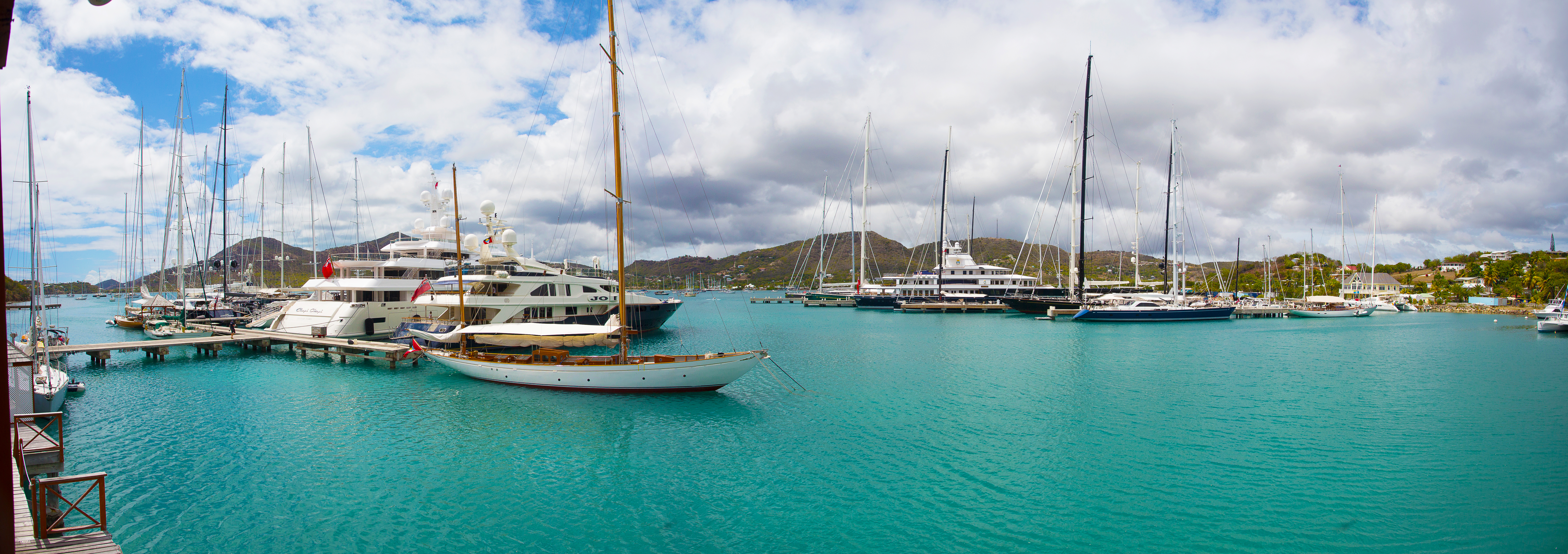 panoramic photograph of a harbour.