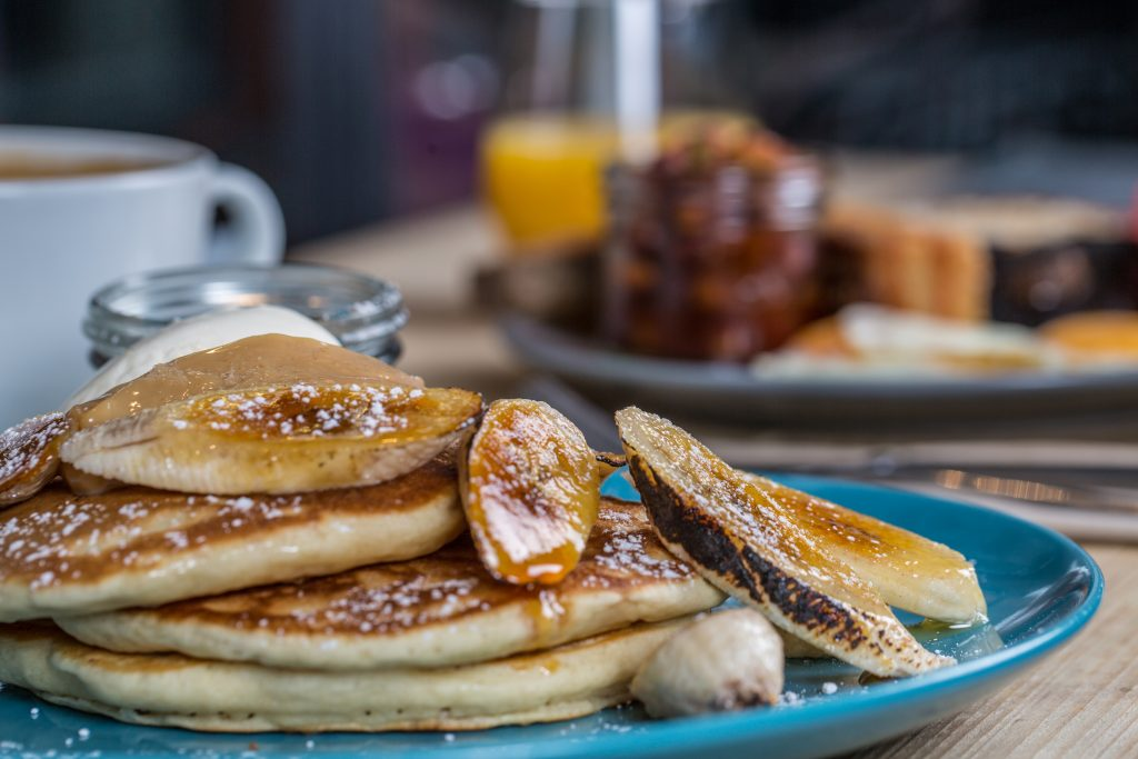 food photograph, pancakes, banana, syrup, coffee, orange juice