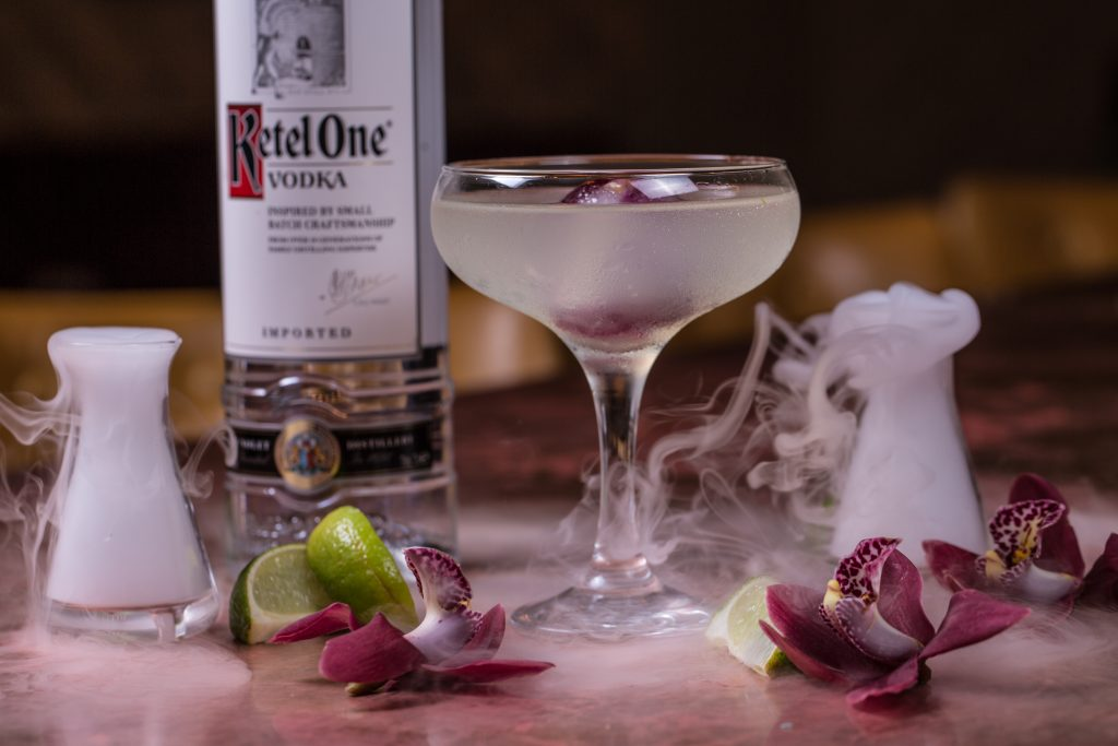 cocktail with ketel one vodka and dry ice.