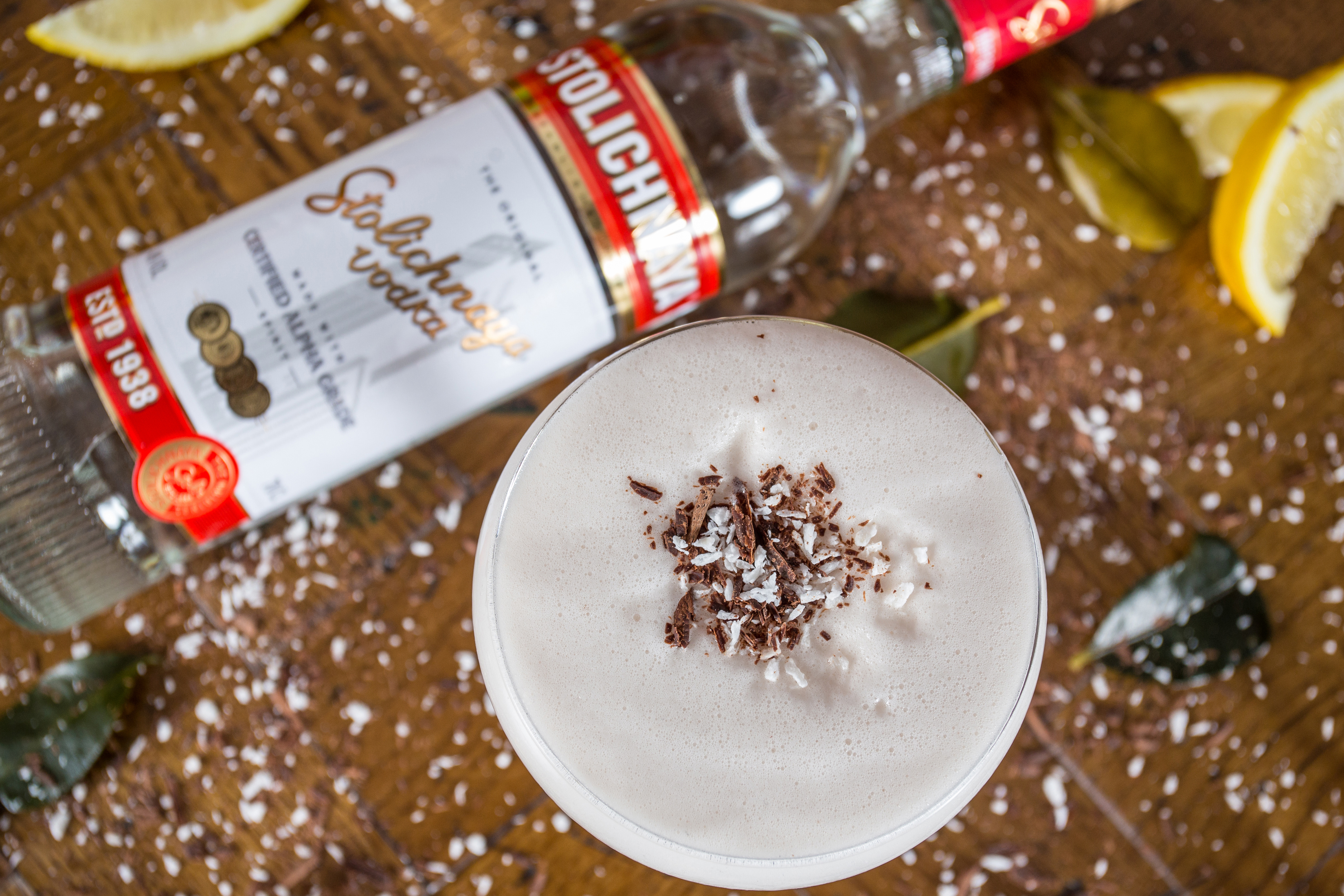 Cocktail photo with stoli vodka, chocolate and coconut shavings