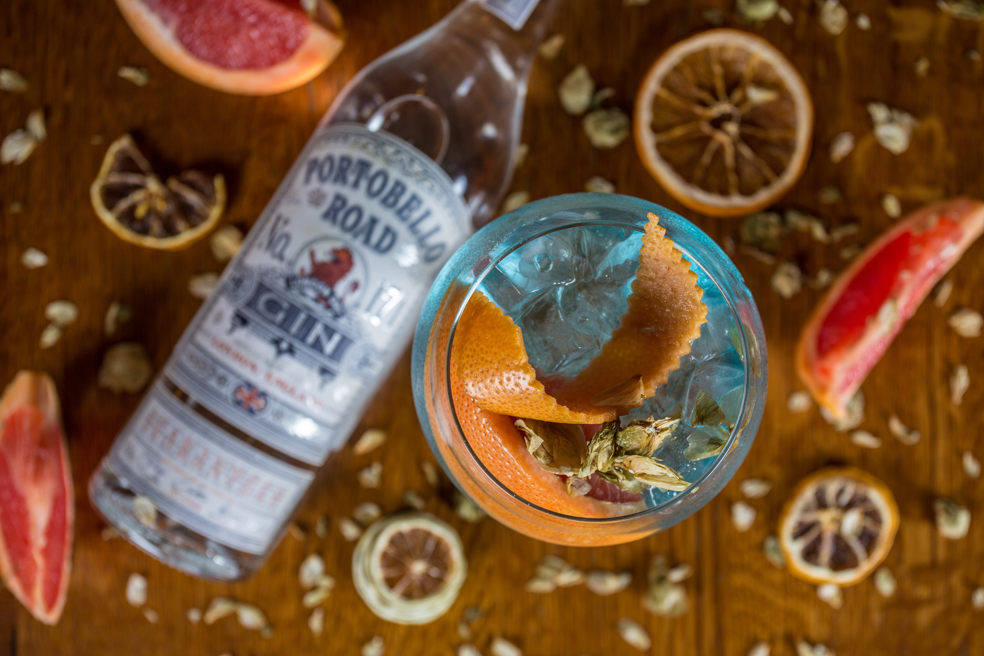 cocktail image with portobello gin and dehydrated orange